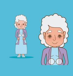 beautiful grandmother cartoon vector image