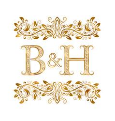 Bh vintage initials logo symbol letters b vector