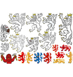big set heraldic lions vector image