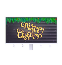 billboard with merry christmas greetings vector image