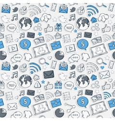 Blue Sticker mobile apps pattern vector image