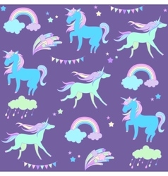 Blue unicorn on purple background with flags and vector image