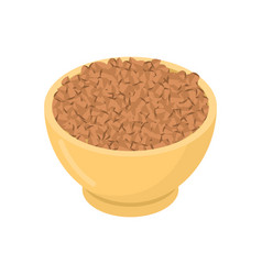 buckwheat in wooden bowl isolated groats in wood vector image