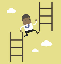 businessman jump from low stair to high stair vector image