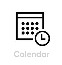 calendar icon editable outline vector image