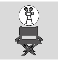 camera film vintage with movie director chair vector image