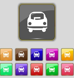Car icon sign Set with eleven colored buttons for vector image