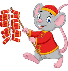Cartoon rat in chinese traditional costume vector