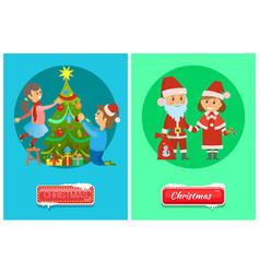 christmas greeting cards santa claus snow maiden vector image
