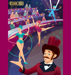 Circus performer on big top stage with gymnasts vector