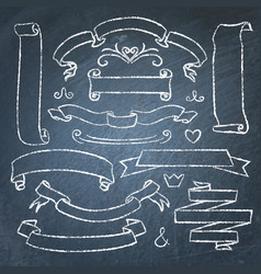 Collection of chalkboard banners vector