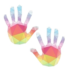colorful hand prints poligonal art vector image