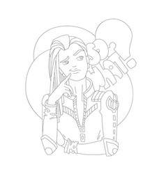 Coloring page outline girl vector