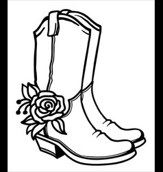 Cowboy boots and flowers decoration outline vector
