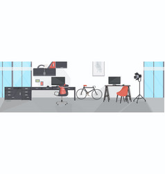 creative workplace with computer monitor modern vector image