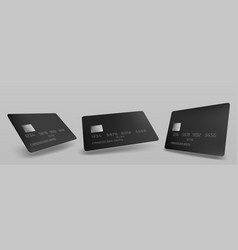 credit card mockup isolated template with chip vector image