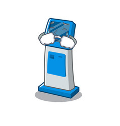 Crying information digital kiosk isolated in the vector