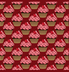 cupcake pattern red background vector image
