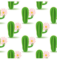 Cute cactus with flower vector