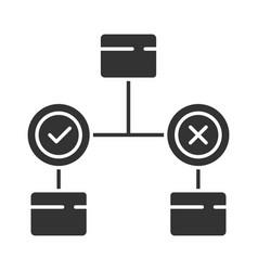 Decision diagram glyph icon block chart problem vector