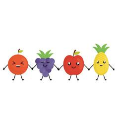 delicious fruits kawaii characters vector image
