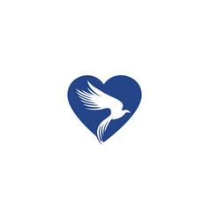 eagle logo abstract heart shape design vector image