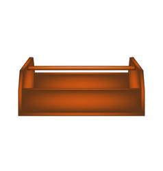 empty wooden toolbox in dark brown design vector image