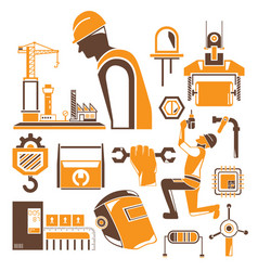 engineer and construction tool icons vector image