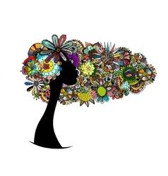 Female floral portrait for your design vector image vector image