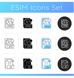 File types icons set vector