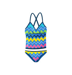 Flat icon of female swimsuit with zigzag vector