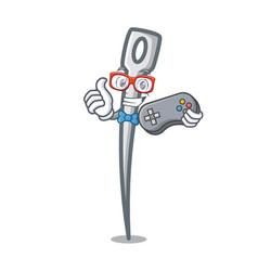 gamer needle mascot cartoon style vector image