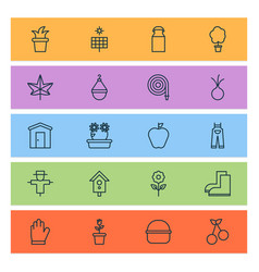 gardening icons set with floral milk can onion vector image