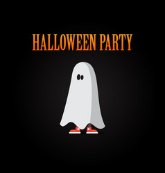 halloween poster design for a party with a ghost vector image