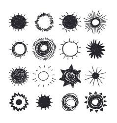 hand drawn sun doodle style element set black vector image