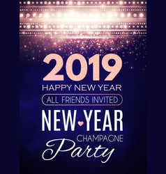 happy new 2019 year party poster template art vector image