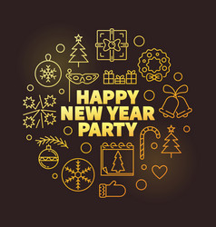 happy new year party outline golden vector image