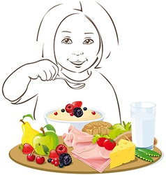 Healthy eating child - vector