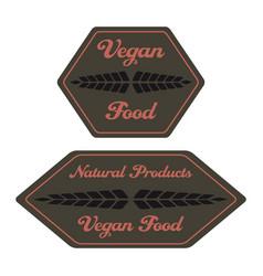 hexagonal vegan food label with ears vector image