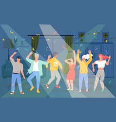 home party happy people dancing taking rest vector image