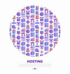 hosting concept in circle thin line icons vps vector image