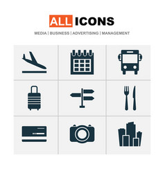 journey icons set with photo bank card signpost vector image