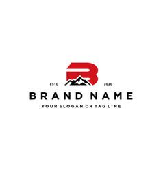 Letter b mountain logo design concept vector