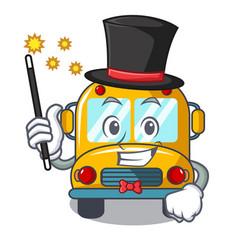 magician school bus mascot cartoon vector image