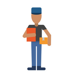 Mailman avatar with clipboard and package icon vector