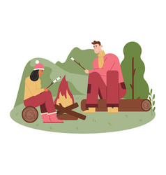 Man and woman frying marshmallows on fire picnic vector