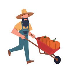 man in garden male gardener doing farming vector image