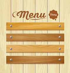 Menu wood board design background vector