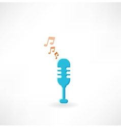 Microphone with notes icon vector