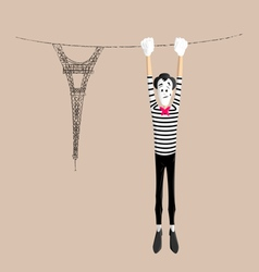Mime performance - Upside down vector image